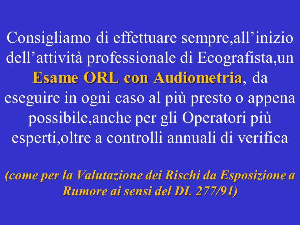 Consigliamo di effettuare sempre,all'inizio dell'attività professionale di Ecografista,un Esame ORL con Audiometria, da eseguire in ogni caso al più presto o appena possibile,anche per gli Operatori più esperti,oltre a controlli annuali di verifica (come per la Valutazione dei Rischi da Esposizione a Rumore ai sensi del DL 277/91)