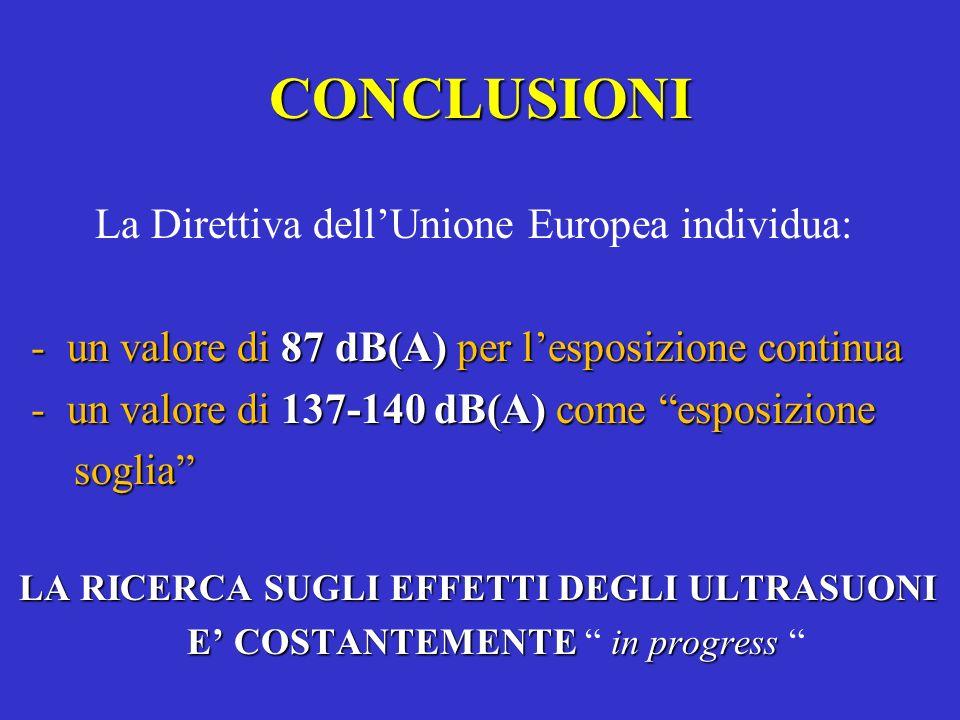 CONCLUSIONI La Direttiva dell'Unione Europea individua: