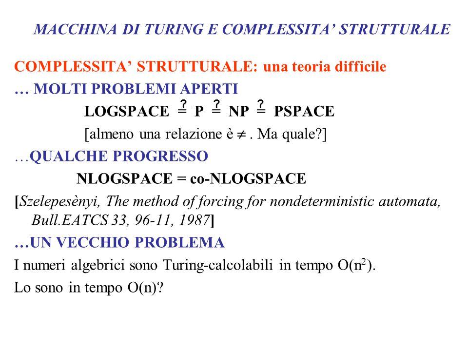 MACCHINA DI TURING E COMPLESSITA' STRUTTURALE