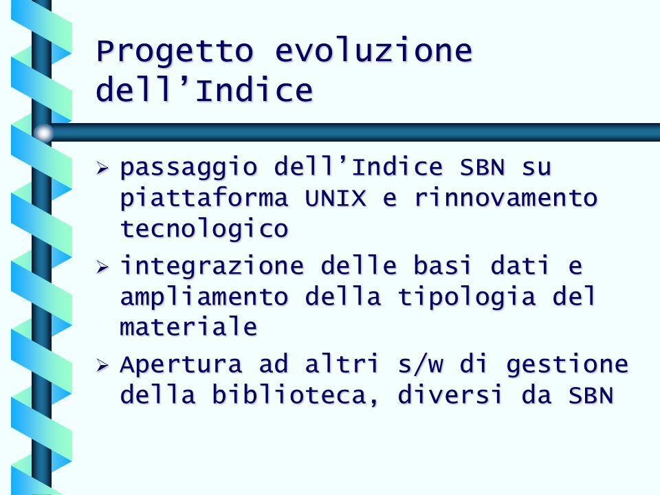 Progetto evoluzione dell'Indice