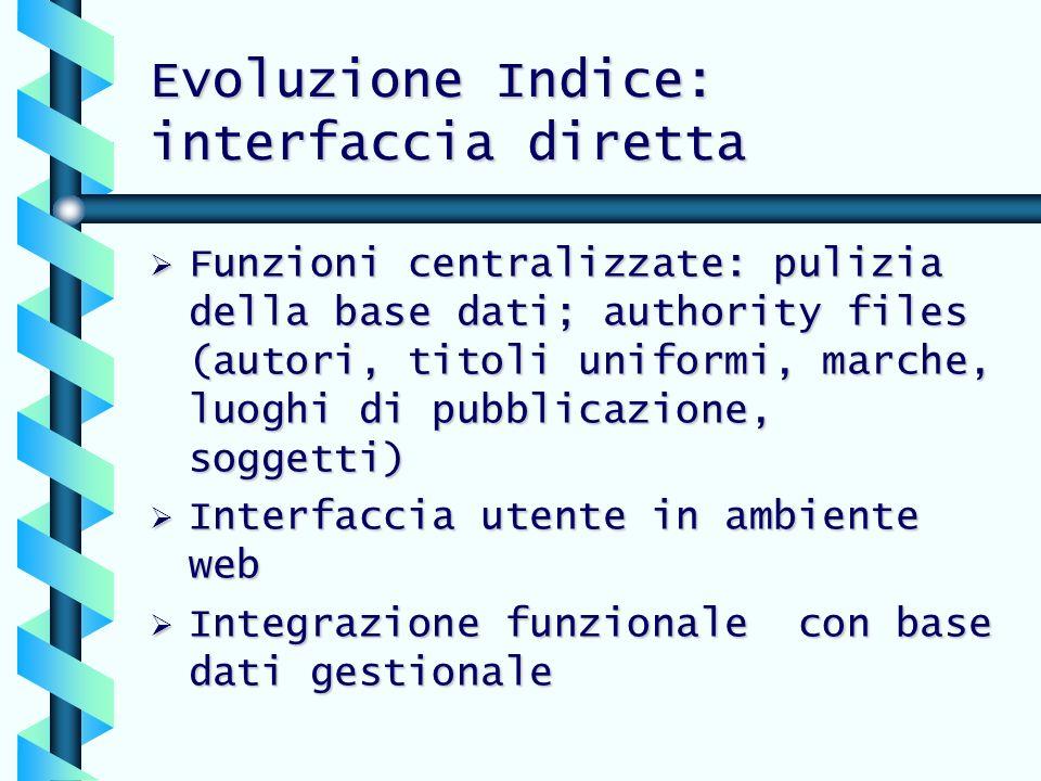 Evoluzione Indice: interfaccia diretta
