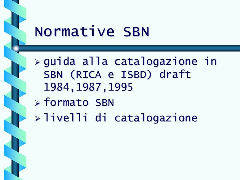 Normative SBN guida alla catalogazione in SBN (RICA e ISBD) draft 1984,1987,1995.