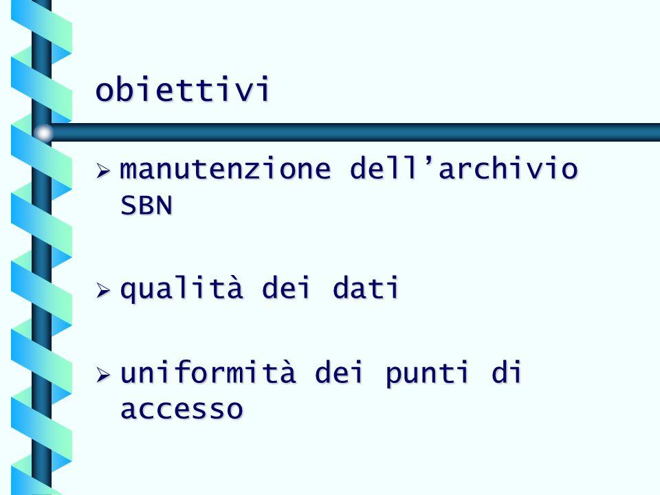 obiettivi manutenzione dell'archivio SBN qualità dei dati