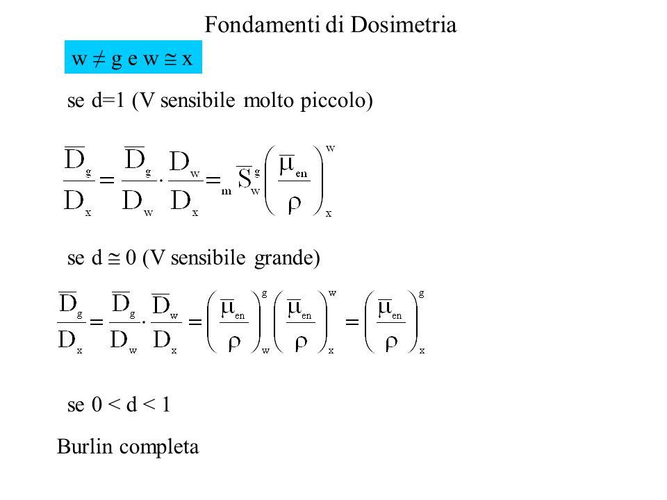 w ≠ g e w  x se d=1 (V sensibile molto piccolo) se d  0 (V sensibile grande) se 0 < d < 1.
