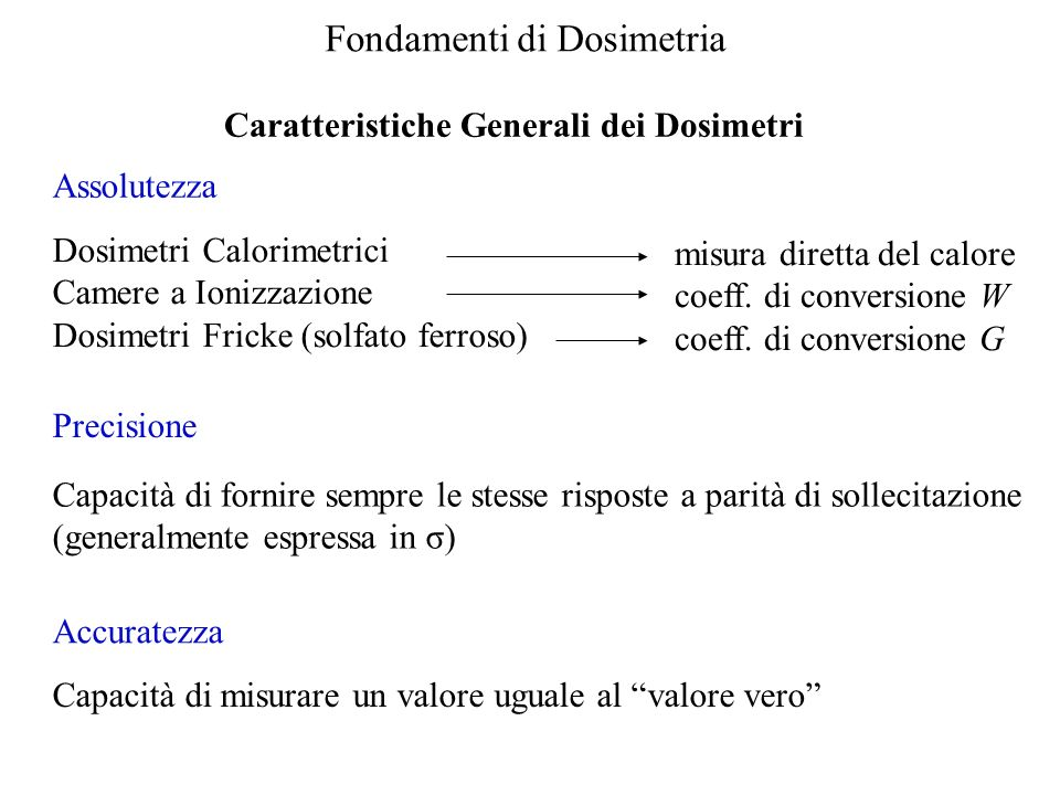 Caratteristiche Generali dei Dosimetri