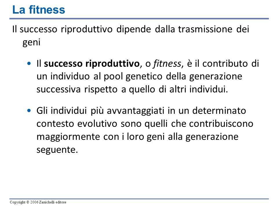 La fitness Il successo riproduttivo dipende dalla trasmissione dei geni.