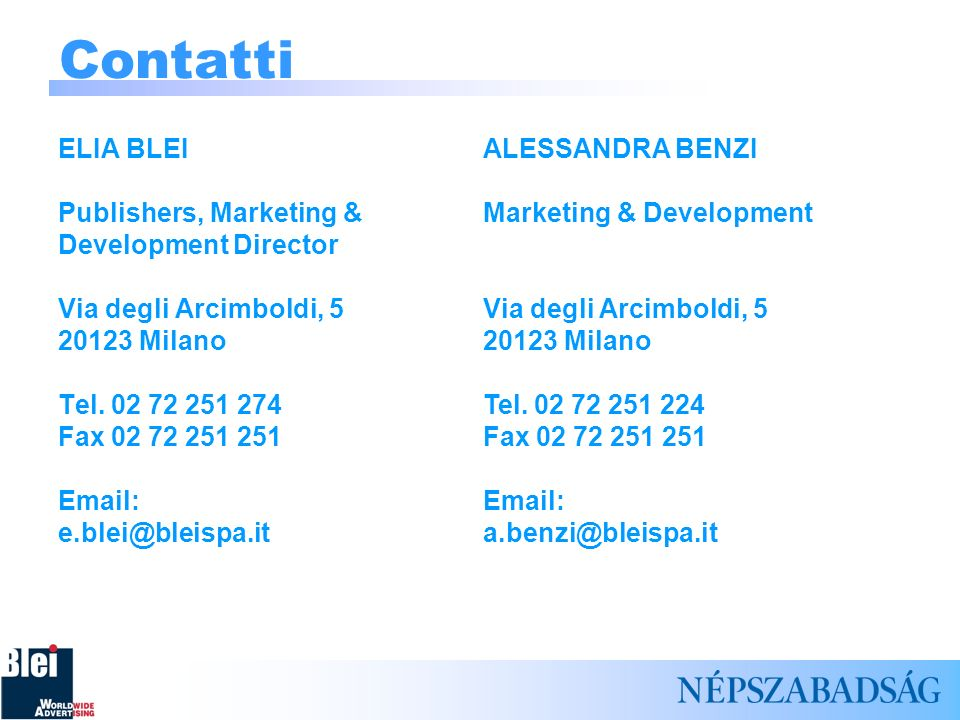 Contatti ELIA BLEI Publishers, Marketing & Development Director