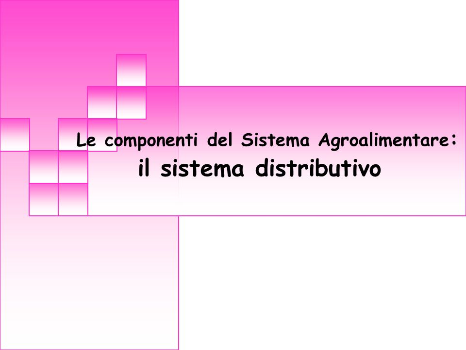 Le componenti del Sistema Agroalimentare: il sistema distributivo