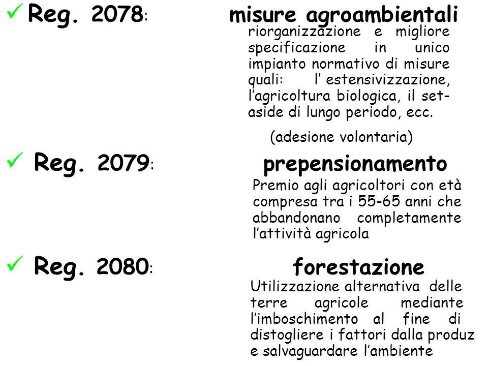 Reg. 2078: misure agroambientali