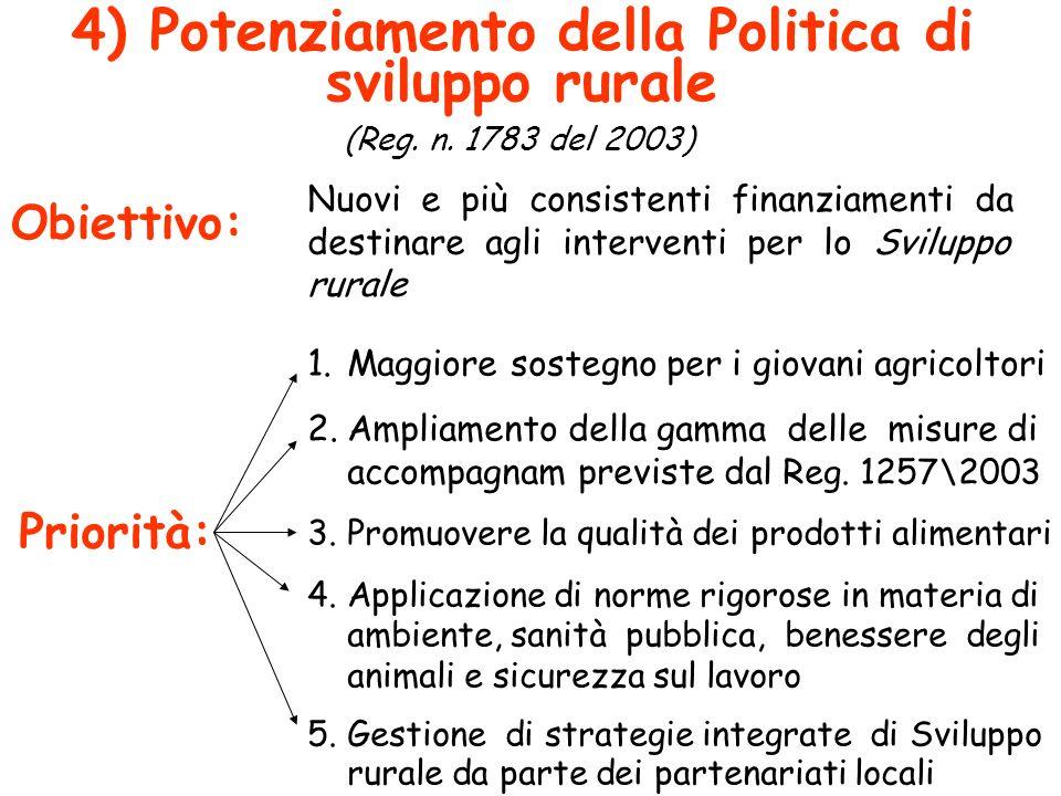 4) Potenziamento della Politica di sviluppo rurale