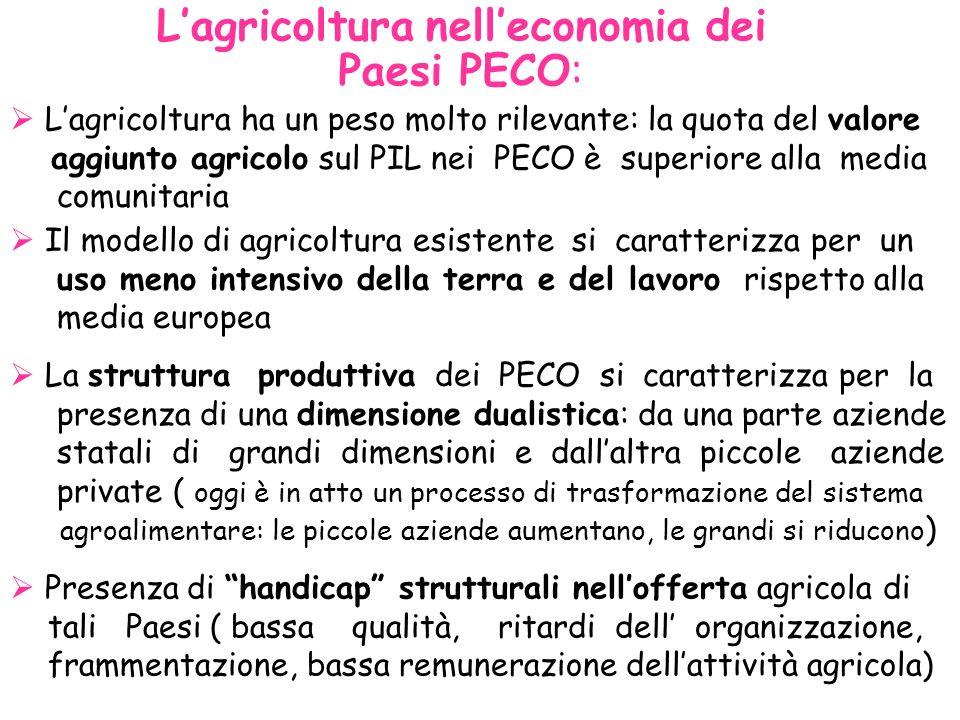 L'agricoltura nell'economia dei Paesi PECO: