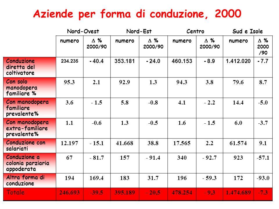 Aziende per forma di conduzione, 2000
