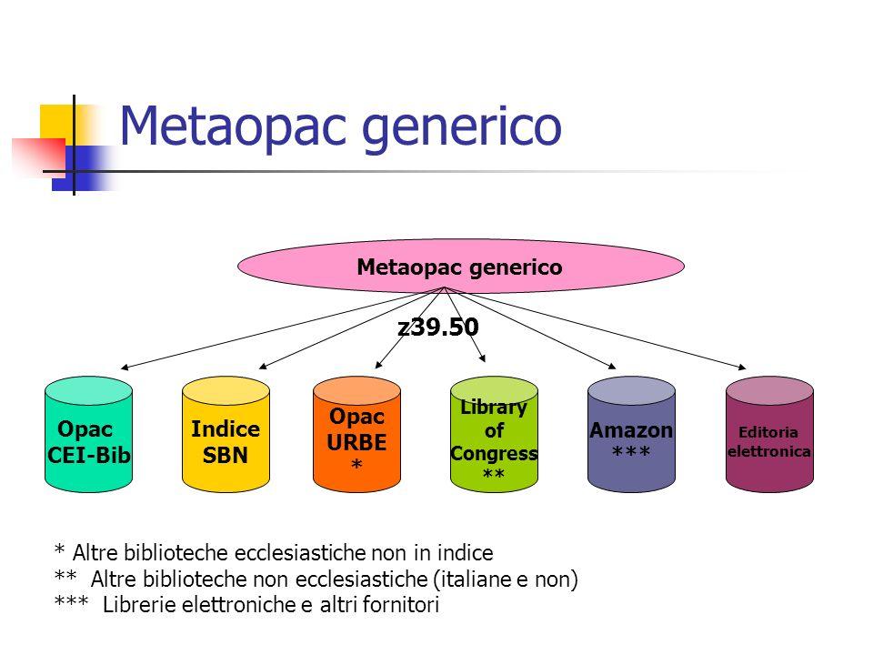 Metaopac generico z39.50 Metaopac generico Opac CEI-Bib Indice SBN