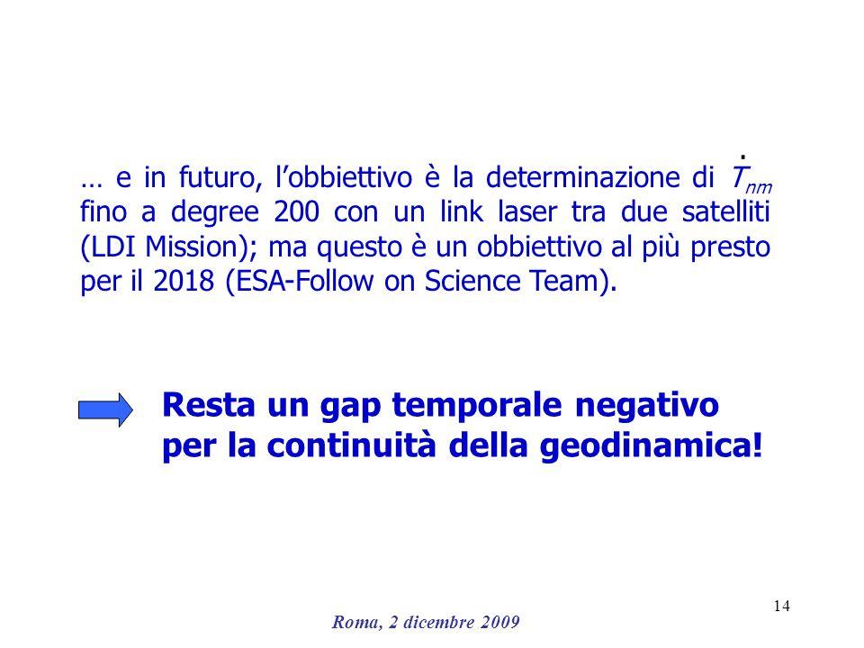 Resta un gap temporale negativo per la continuità della geodinamica!