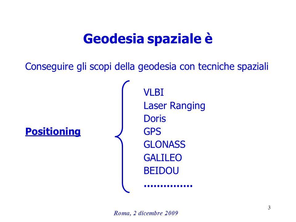 Geodesia spaziale è Conseguire gli scopi della geodesia con tecniche spaziali. VLBI. Laser Ranging.