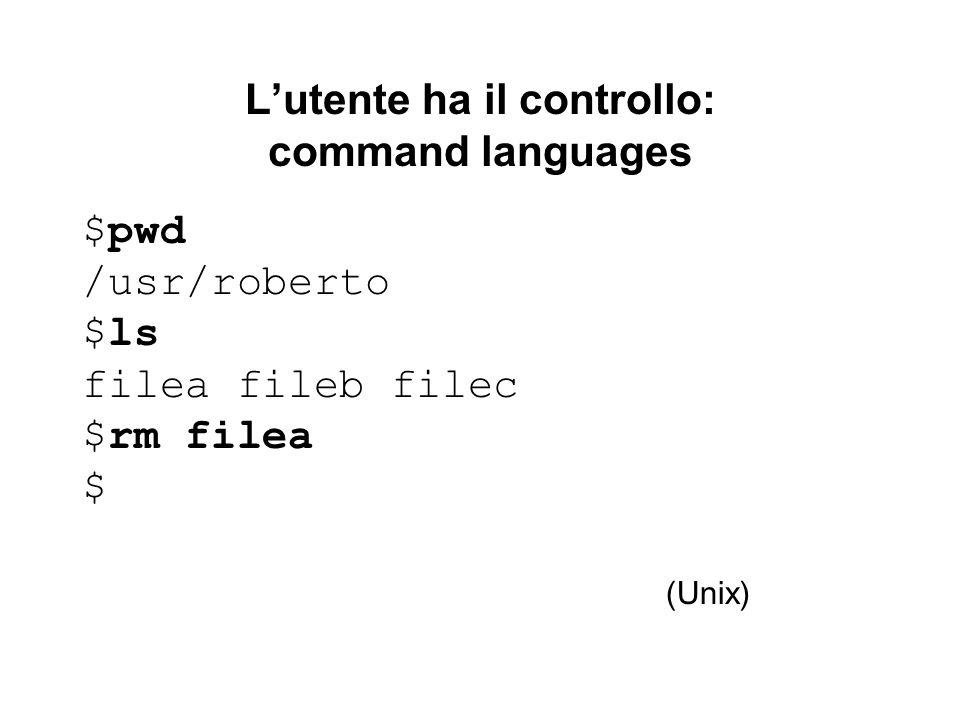 L'utente ha il controllo: command languages