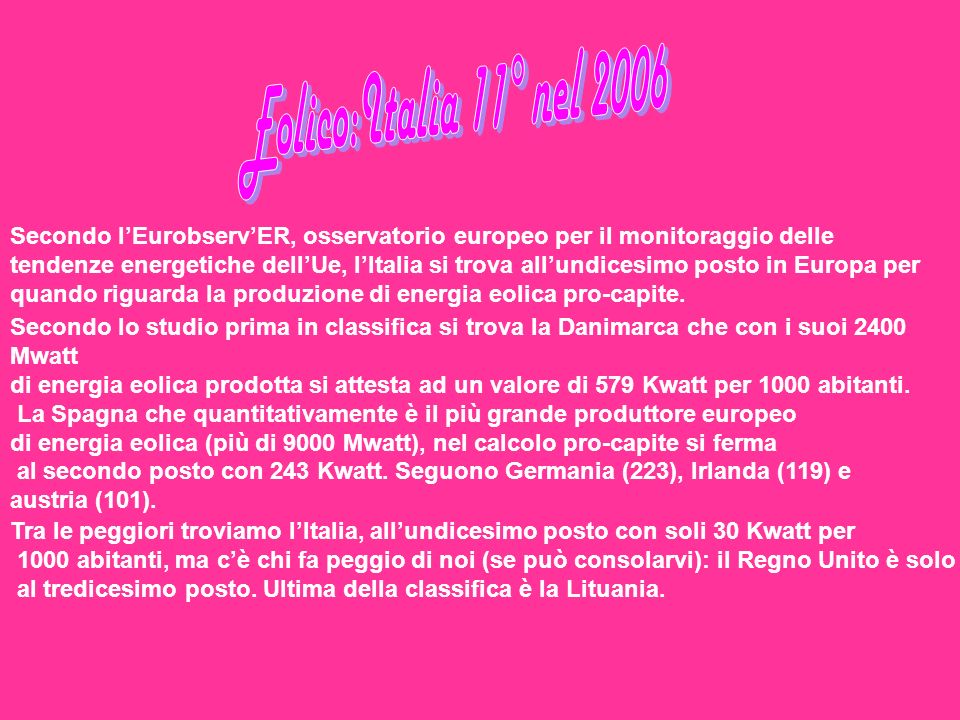 Eolico:Italia 11° nel 2006