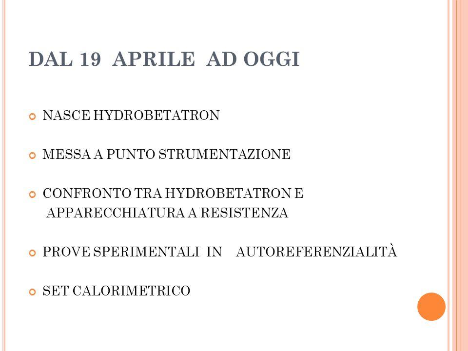 DAL 19 APRILE AD OGGI NASCE HYDROBETATRON MESSA A PUNTO STRUMENTAZIONE