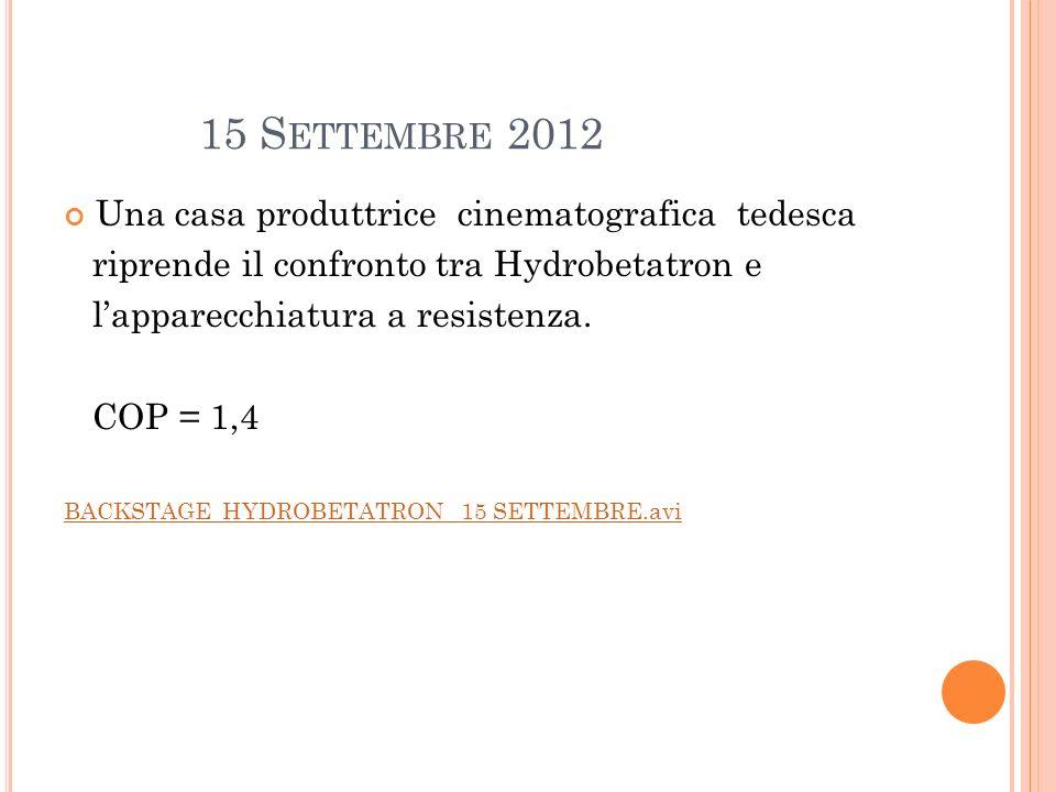 15 Settembre 2012 Una casa produttrice cinematografica tedesca