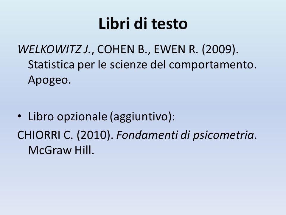 Libri di testo WELKOWITZ J., COHEN B., EWEN R. (2009). Statistica per le scienze del comportamento. Apogeo.