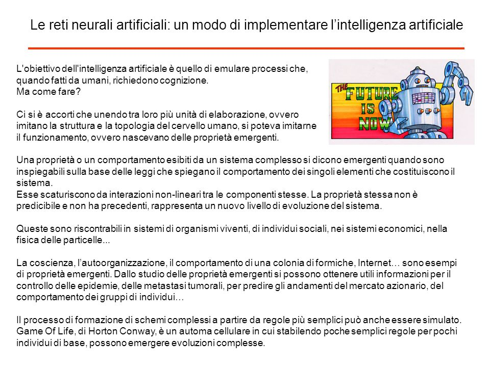 Le reti neurali artificiali: un modo di implementare l'intelligenza artificiale