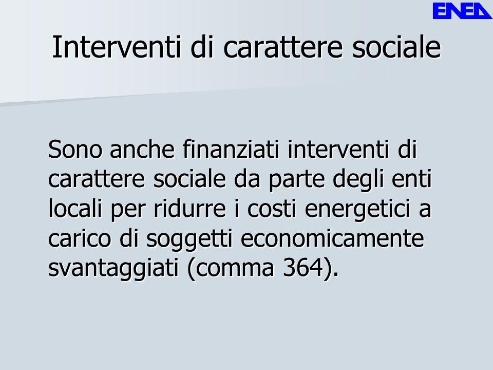 Interventi di carattere sociale