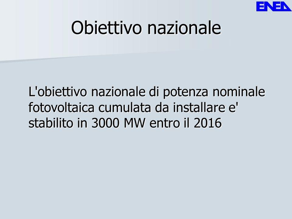 Obiettivo nazionale L obiettivo nazionale di potenza nominale fotovoltaica cumulata da installare e stabilito in 3000 MW entro il 2016.