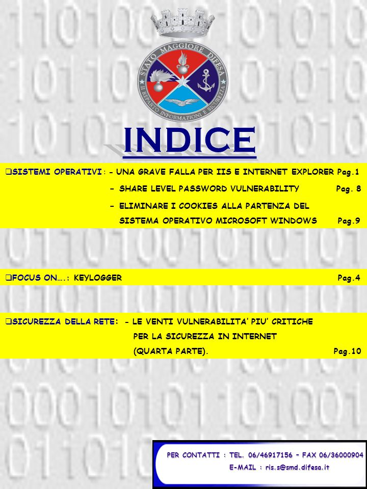 INDICE - SHARE LEVEL PASSWORD VULNERABILITY Pag. 8