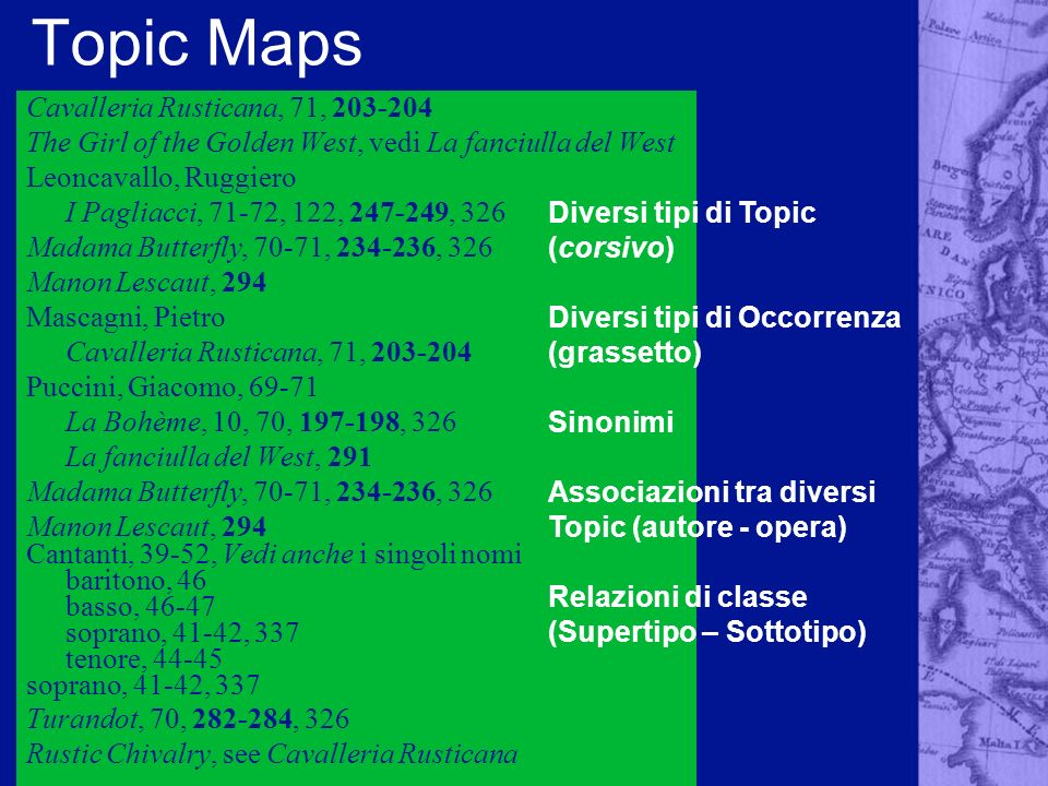 Topic Maps Cavalleria Rusticana, 71, 203-204