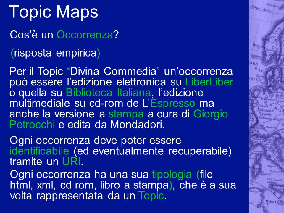 Topic Maps Cos'è un Occorrenza (risposta empirica)
