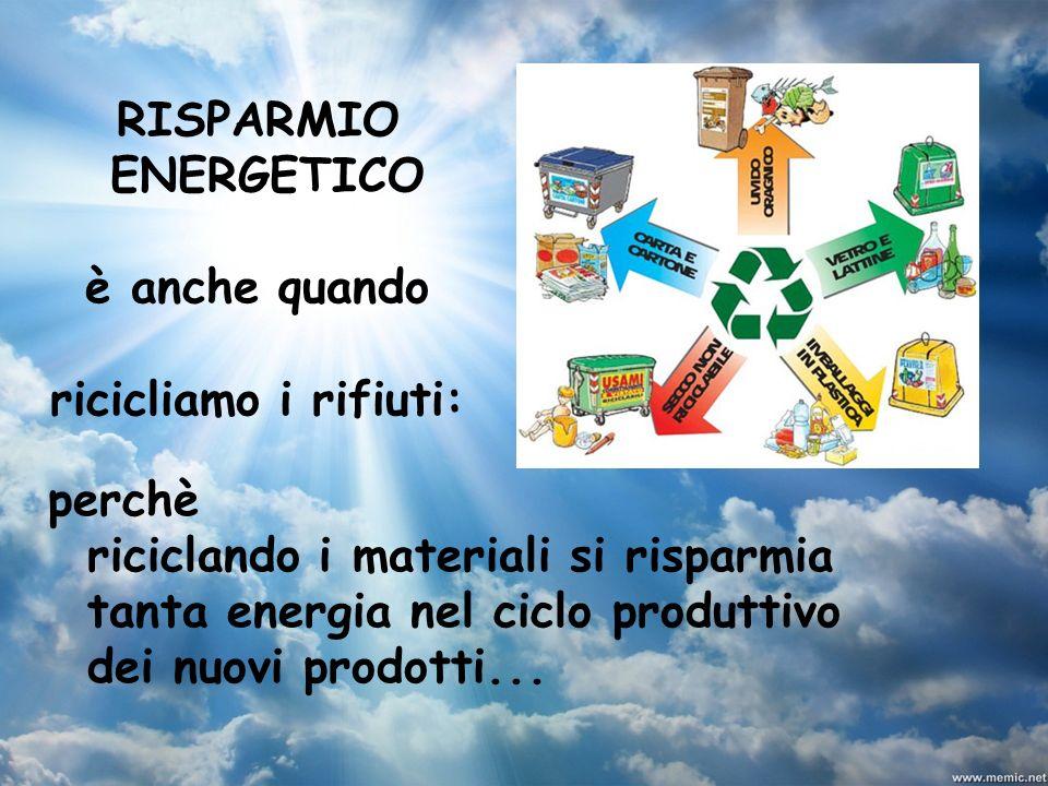 RISPARMIO ENERGETICO. è anche quando. ricicliamo i rifiuti: perchè.