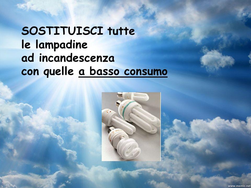 SOSTITUISCI tutte le lampadine ad incandescenza con quelle a basso consumo