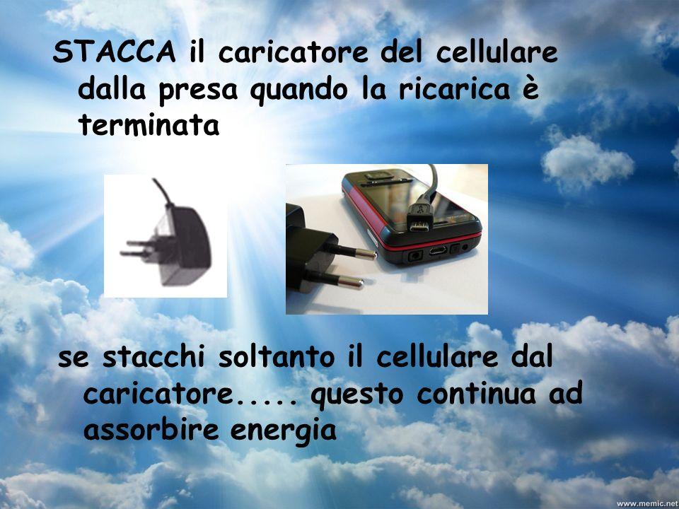 STACCA il caricatore del cellulare dalla presa quando la ricarica è terminata