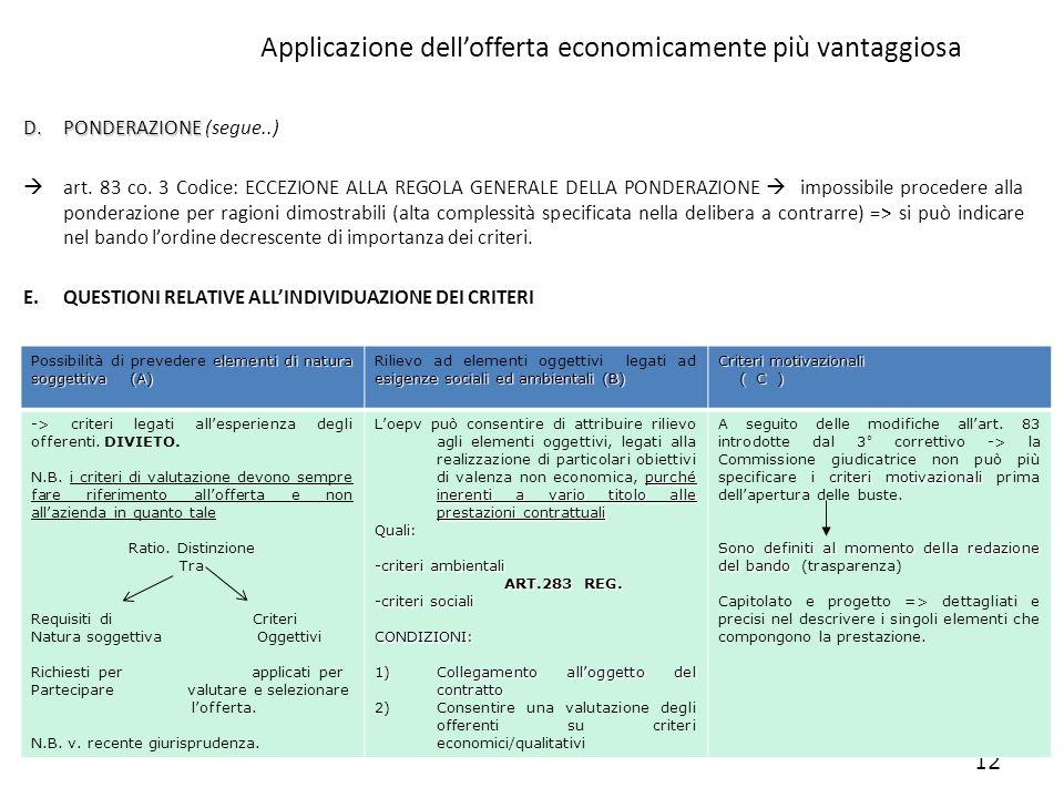 Applicazione dell'offerta economicamente più vantaggiosa