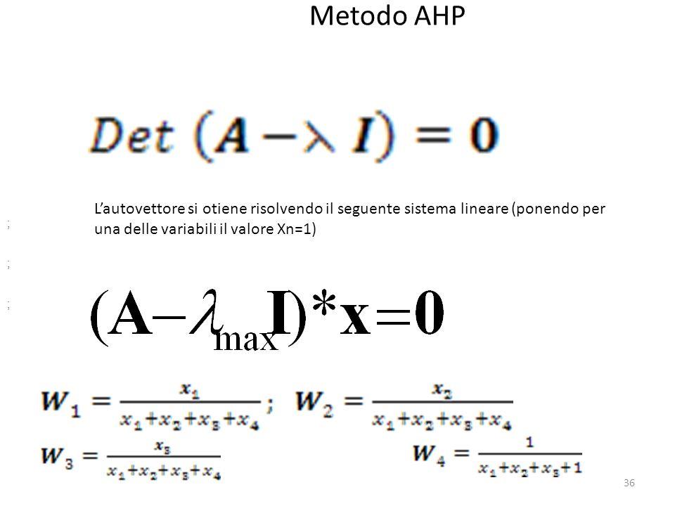 Metodo AHP L'autovettore si otiene risolvendo il seguente sistema lineare (ponendo per una delle variabili il valore Xn=1)