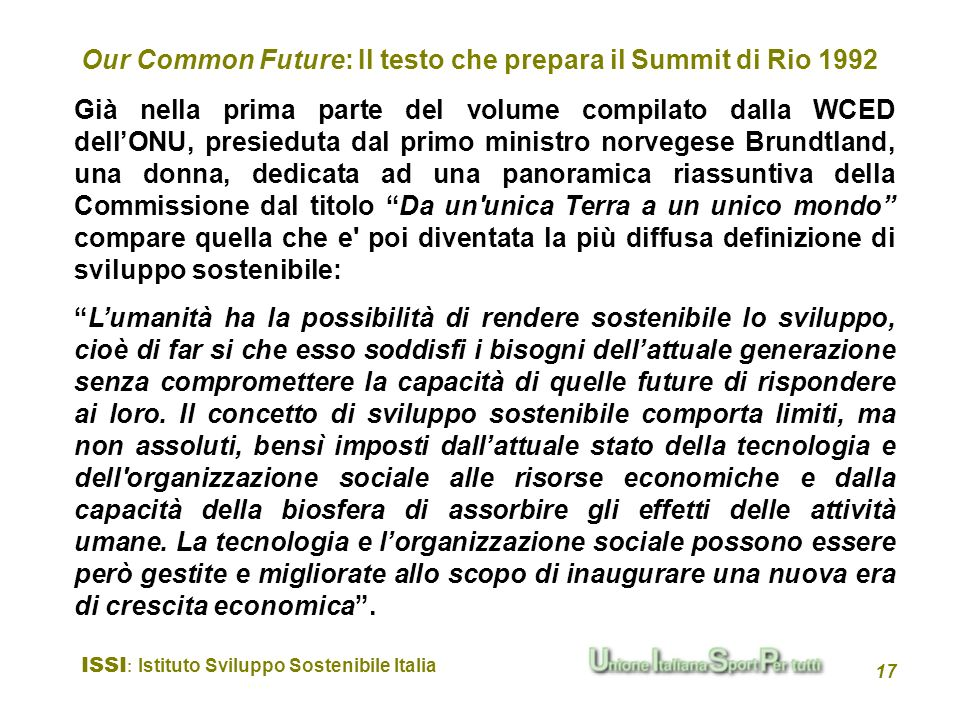 Our Common Future: Il testo che prepara il Summit di Rio 1992