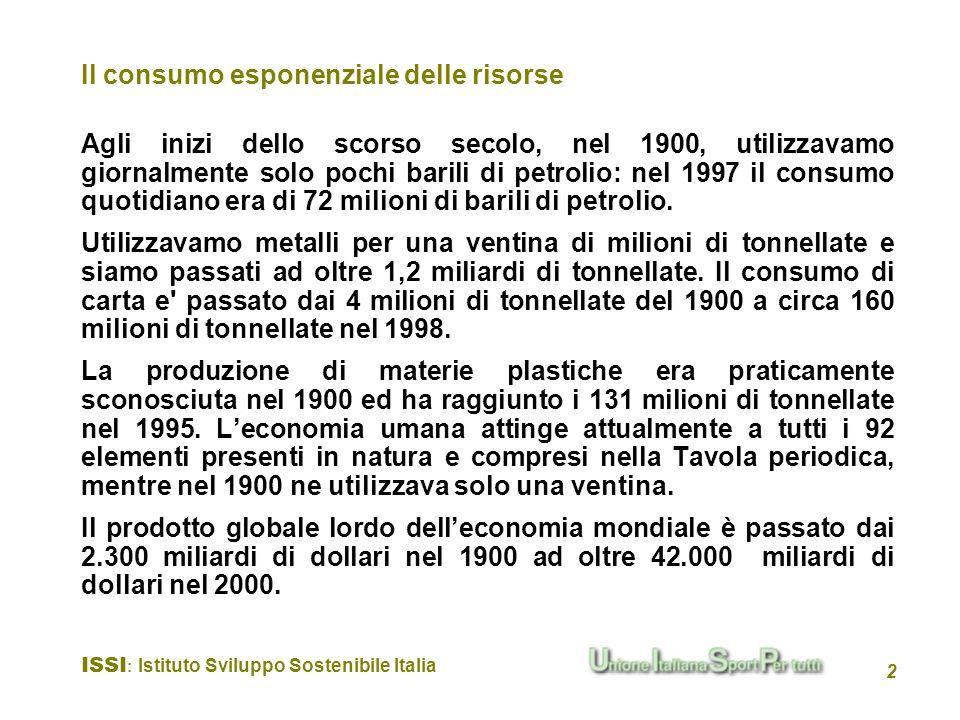 Il consumo esponenziale delle risorse
