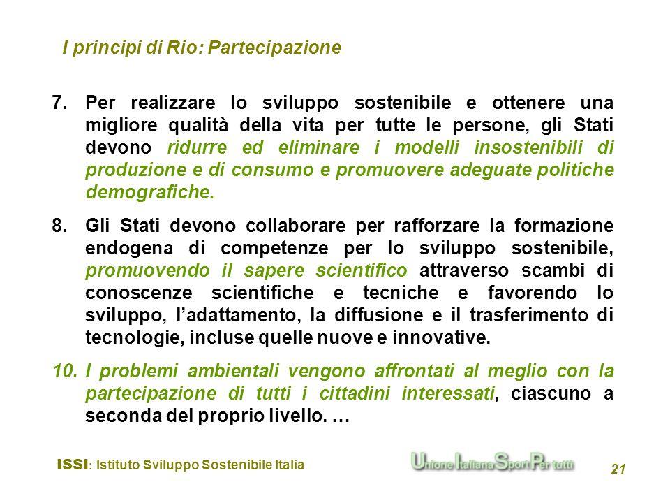 I principi di Rio: Partecipazione