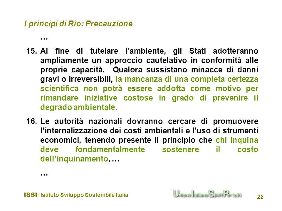 I principi di Rio: Precauzione