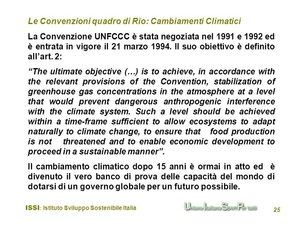 Le Convenzioni quadro di Rio: Cambiamenti Climatici