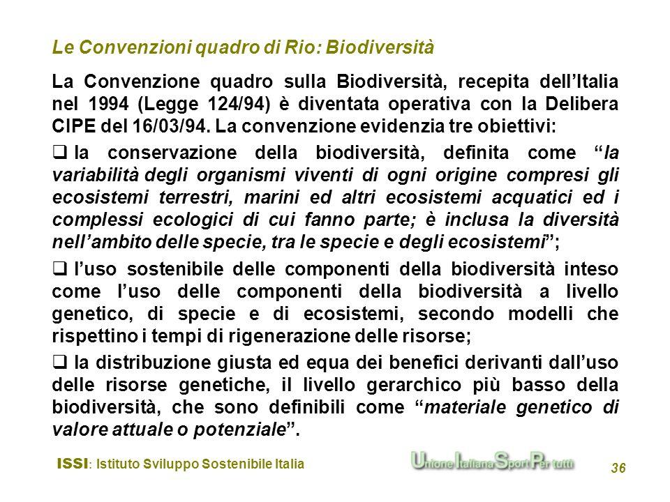 Le Convenzioni quadro di Rio: Biodiversità