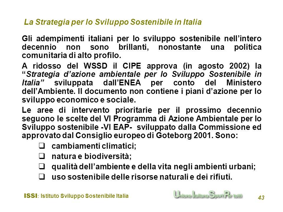 La Strategia per lo Sviluppo Sostenibile in Italia