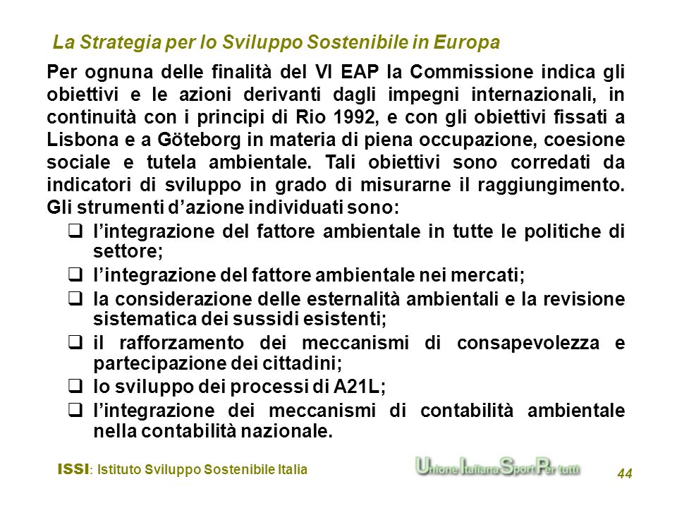 La Strategia per lo Sviluppo Sostenibile in Europa
