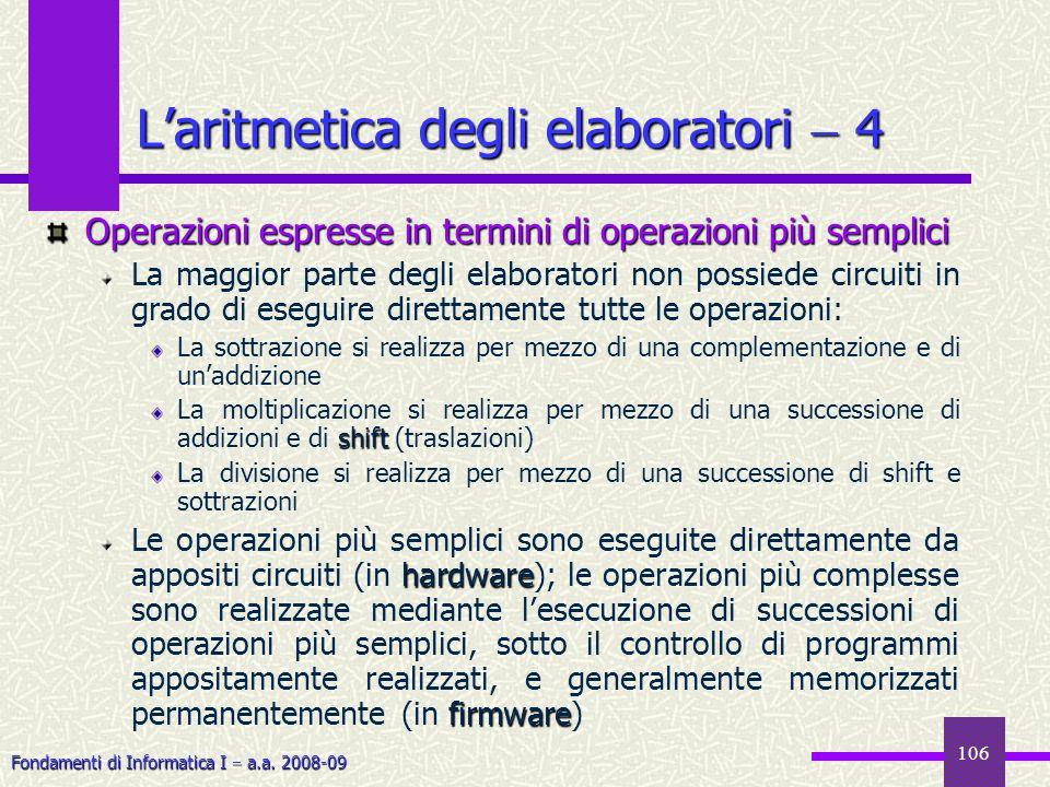 L'aritmetica degli elaboratori  4