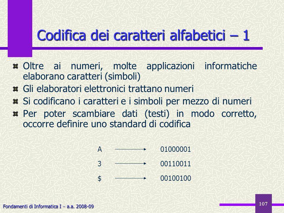 Codifica dei caratteri alfabetici – 1