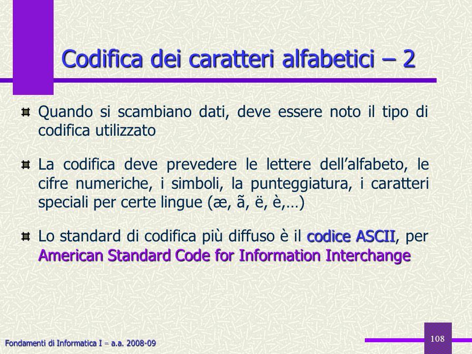 Codifica dei caratteri alfabetici – 2