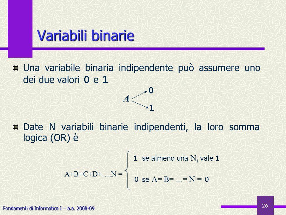 Variabili binarie Una variabile binaria indipendente può assumere uno dei due valori 0 e 1.