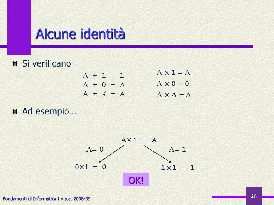 Alcune identità Si verificano Ad esempio… OK! A 1  A