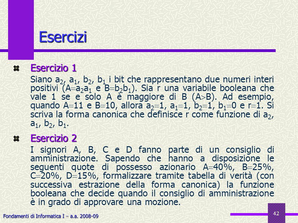 Esercizi Esercizio 1 Esercizio 2
