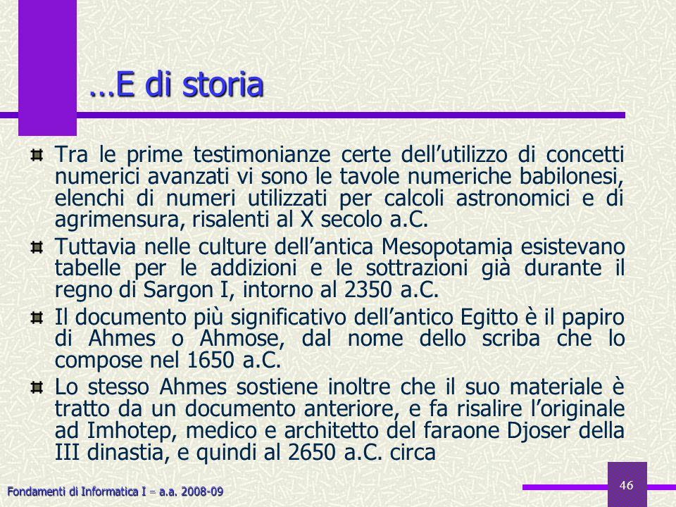 …E di storia